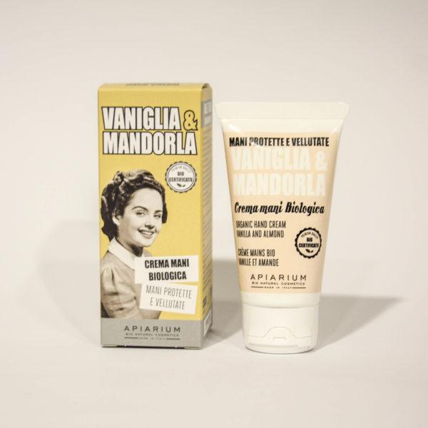 Crema Mani Bio Vaniglia e Mandorla -Linea Apiarium-Bio Natural Cosmetics Erboristeria Frate Vento