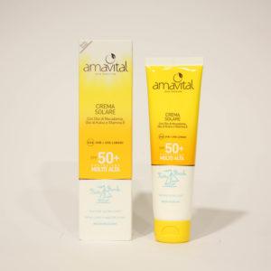 Crema Solare Bimbi, Protezione molto alta, SPF 50+, idratante, con Vitamine - Amavital | Erboristeria Frate Vento