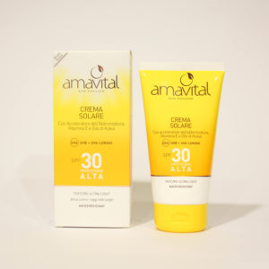 Crema Solare Protezione alta, SPF 30, idratante, con Vitamine - Amavital | Erboristeria Frate Vento