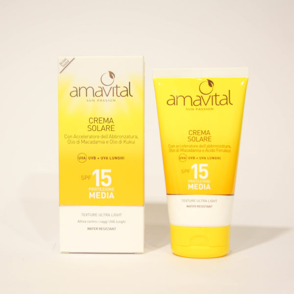 Crema Solare Protezione media, SPF 15, idratante, con Vitamine - Amavital | Erboristeria Frate Vento