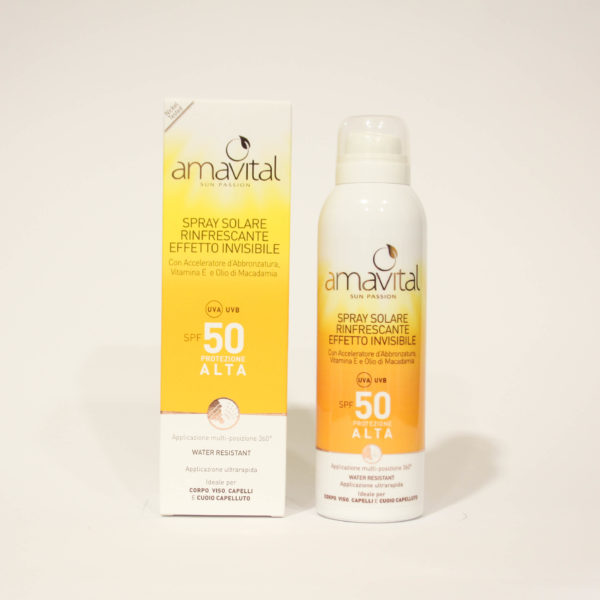 Spray Solare Protezione alta, SPF 50, rinfrescante, con Vitamine - Amavital | Erboristeria Frate Vento