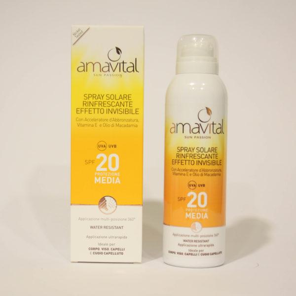 Spray Solare Protezione media, SPF 20, rinfrescante, con Vitamina E - Amavital | Erboristeria Frate Vento